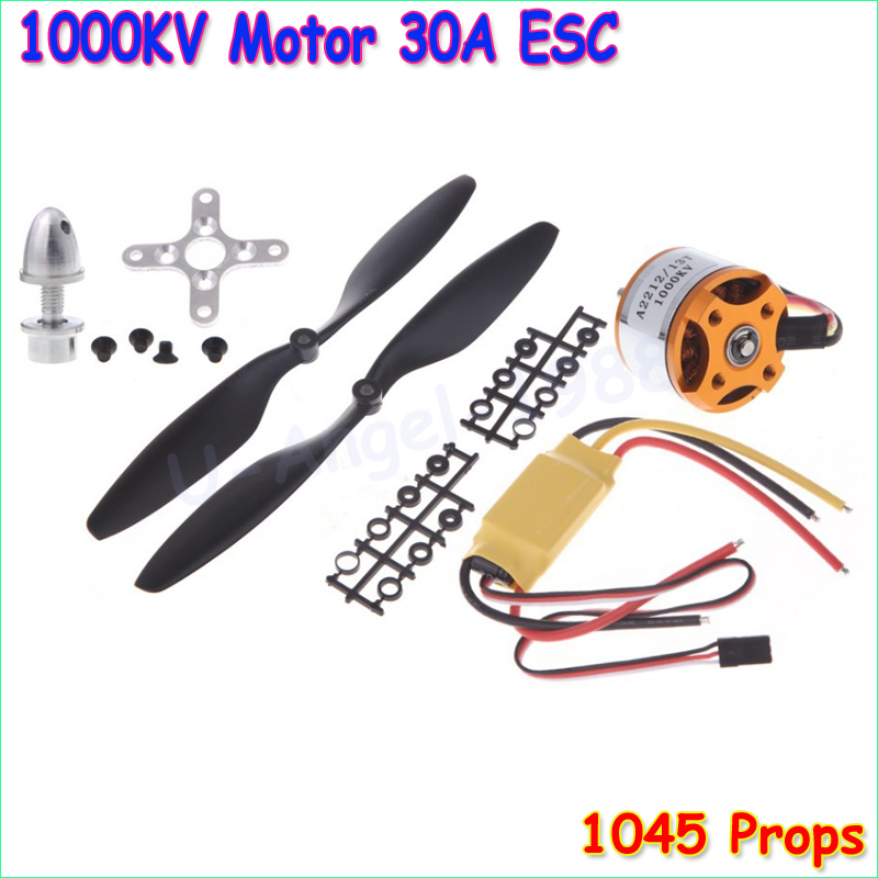 A2212 1000KV 2200 Brushless Outrunner Motor +SimonK 30A ESC+1045 Propeller(1 pair) Quad-Rotor Set for RC Aircraft Multicopter 4pcs 6215 170kv brushless outrunner motor with hv 80a esc 2055 propeller for rc aircraft plane multi copter