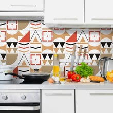 Colorful geometry tile sticker living room bedroom wallpaper wall kitchen oilproof bathroom waterproof