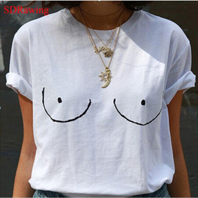 Funny TITTIES BOOBS BOOBIES Print Cotton Casual Women Brand T Shirts O Neck Tops Tees Shirts