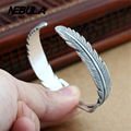 Genuine 999 Sterling Silver Vintage Eagle Feathers Opening Bangle Bracelet For Women Jewelry