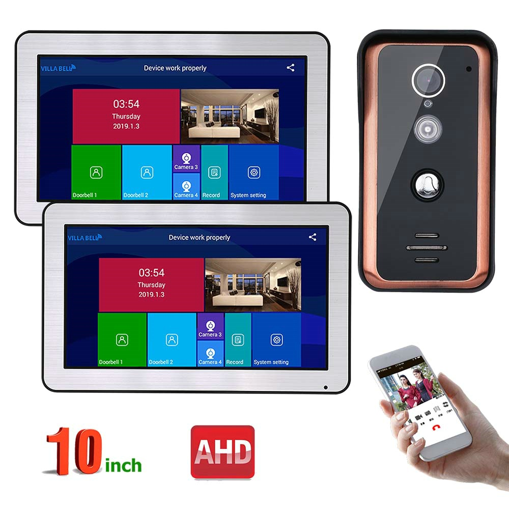 10 Inch 2 Monitors Wired Wifi Video Door Phone Doorbell Intercom System With AHD 720P Wired IR-CUT Camera Night Vision