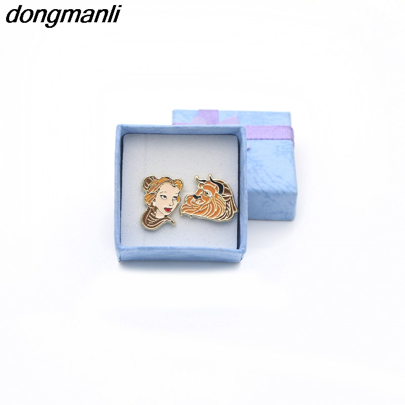 F66 Famous Movie Kids Stud Earring Gifts Enamel Cute Cartoon Beauty And The Beast Earrings For Women Cosplay Jewelry