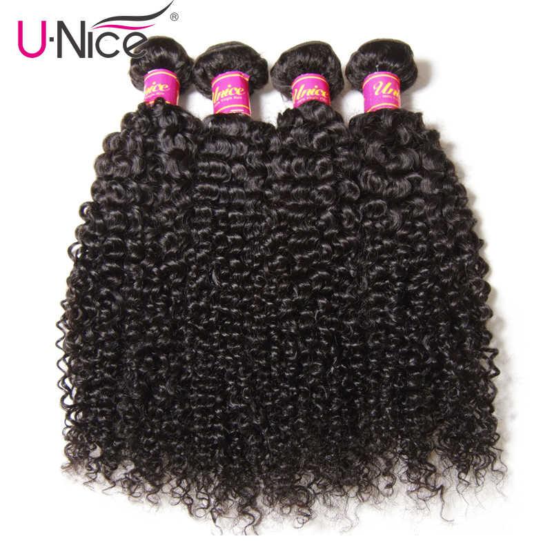 UNice Haar Curly Weave Menschliches Haar Mit Verschluss 4/5PCS Brasilianische Remy Haarwebart Bundles mit Verschluss Spitze haar Diy Perücken Durch Sie