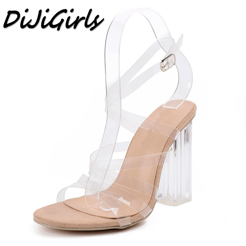 DiJiGirls women Cross strap sandals ladies pumps thick high heels shoes woman Crystal Clear Transparent ankle strap Party shoes new women gladiator sandals ladies pumps high heels shoes woman clear transparent t strap party wedding dress thick crystal heel