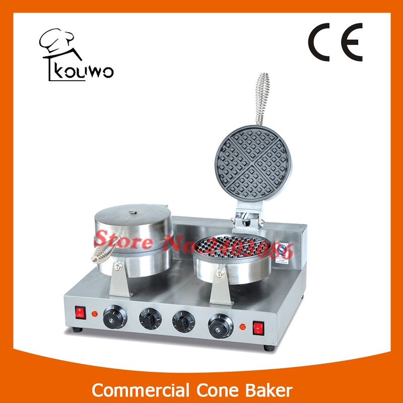 KOUWO CE approval Stainless Steel 2-plate Electric Waffle Baker with 5 Minutes Timer in China egg shaped stainless steel mechanical twist timer 60 minutes