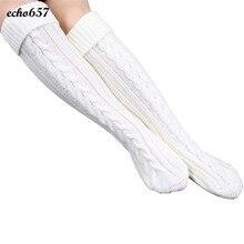 Новый стиль Чулки для женщин Echo657 Лидер продаж модные, пикантные Для женщин шаг ноги вязать шерстяная Пряжа Выше Колена Чулок 29 декабря GH