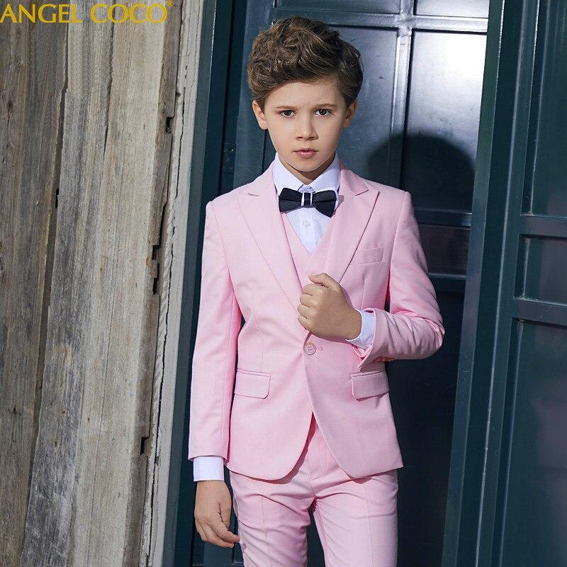 Pink Suit For Boys Suits For Weddings Costume Enfant Garcon Mariage Boys Blazer Jogging Garcon 5Pcs Top Vest Pants Shirt Bow Tie