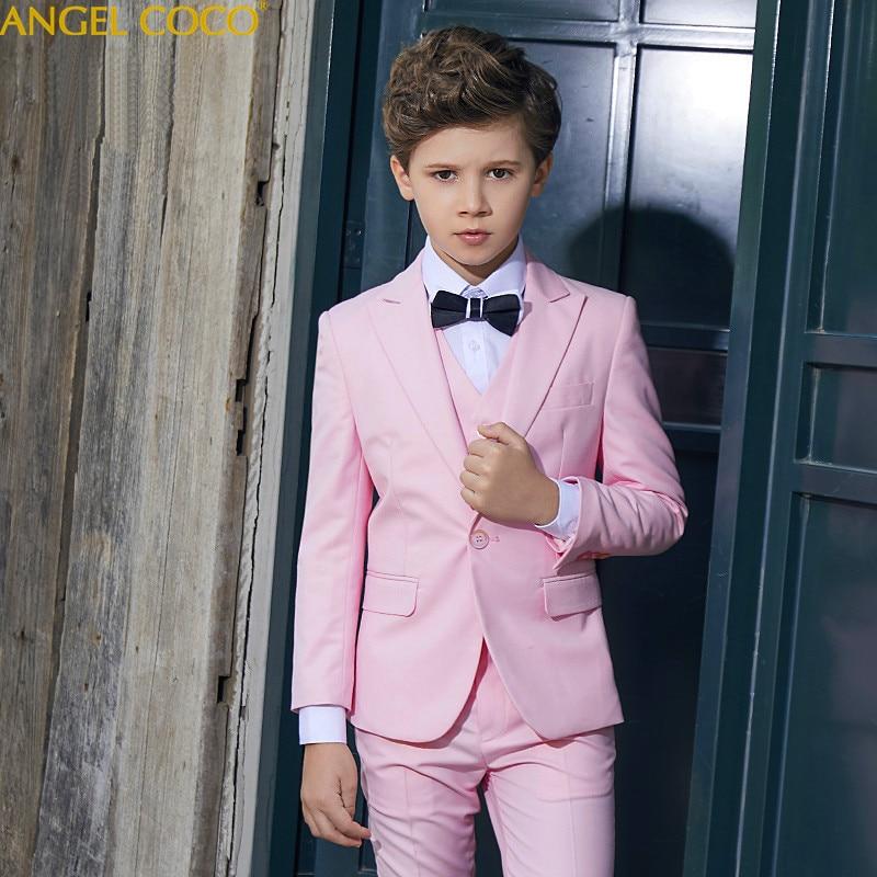 Pink Suit For Boys Suits For Weddings Costume Enfant Garcon Mariage Boys Blazer Jogging Garcon 5Pcs Top Vest Pants Shirt Bow Tie exaggerate bow tie neck ruffle trim top