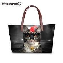 WHOSEPET Große Kapazität Damenmode Umhängetaschen 3D Trendy Katzen Druck für Hochwertige Luxus Handtaschen Reise Taschen