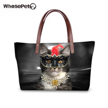 WHOSEPET Large Capacity Women's Fashion Shoulder Bags 3D Trendy Cats Printing for High Quality Luxury Handbags Travel Bolsas