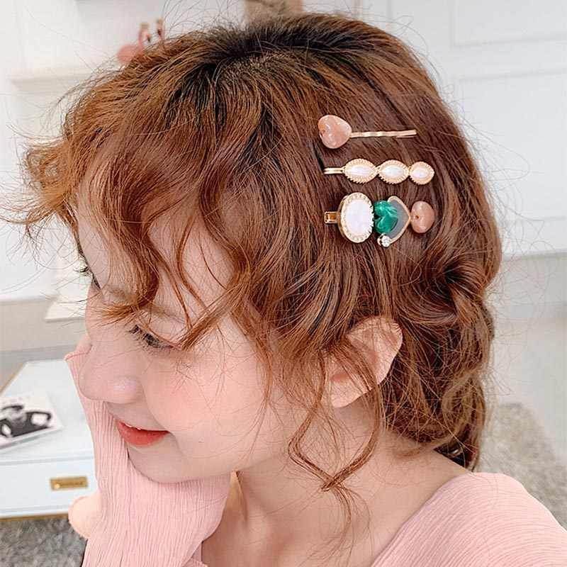 3pcs/Set Vintage Acetate Alloy Hair Clips Set For Women Girl Sweet Heart Round Shape Pearl Hairpins for Women Hair Accessories