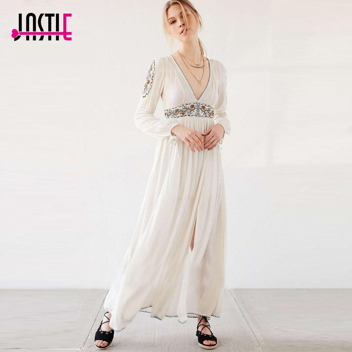Sexy Party femmes robe Floral broderie Boho robes v-cou ouvert fentes Maxi robe bohème manches longues élégant robes