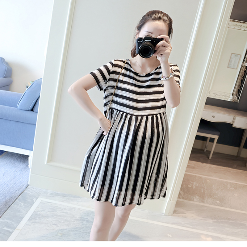 2017 Summer Maternity Dresses Nursing Pregnant Women Maternity Clothes Striped Dresses Fashion Casual Striped Clothes YL586