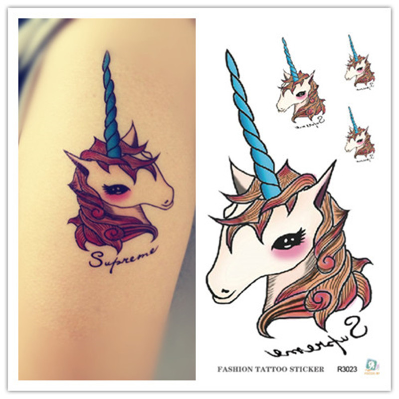 Christmas Waterproof Temporary Tattoos For Lady Children Lovely Cartoon Unicorn Design Flash Tattoo Sticker R3023