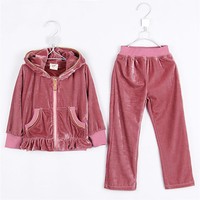 Autumn Laciness Girls Clothing Child Velvet Outerwear Long Trousers Set 0826