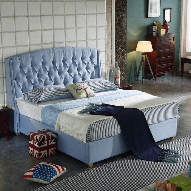 150X200 cm cabecera alta azul tela suave cama muebles de dormitorio ...