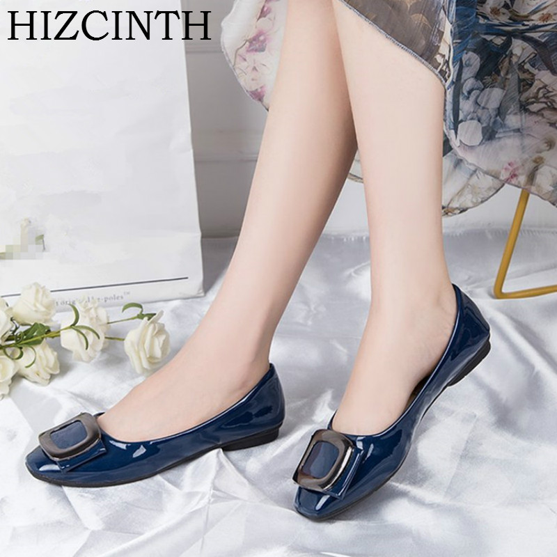 HIZCINTH Ballet Flats Shoes Woman 2018 Spring/autumn Shallow Mouth Single Shoes Square Toe Metal Decoration Sapato Feminino spring autumn solid metal decoration flats shoes fashion women flock pointed toe buckle strap ballet flats size 35 40 k257