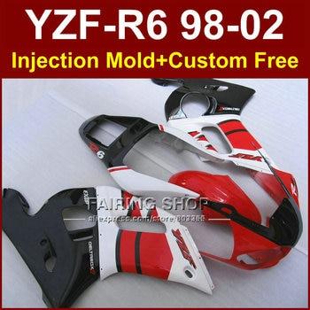 Carenado, piezas rojo y negro para YAMAHA EXUP YZF R6 1998 1999 2000 2001 2002, kit de carenado personalizado YZF R6 98-02, carenado G8TV