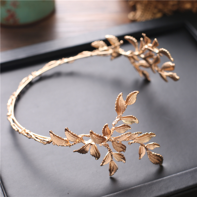HIMSTORY Vintage Gold Baroque Leaf Headbands Crowns Wedding Hair Accessories Bridal Jewelry Leaf Headpieces tiaras