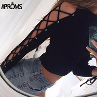 Sexy Hollow Out Lace Up Short T Shirt Winter Long Sleeve Knitted Shirt Women Tops 2016