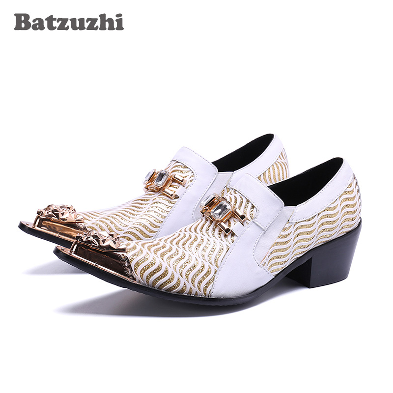 e1484ff54 Sapatas Dos Se Saltos Centímetros Bicudos Vestem Sapatos Formais Genuína  Shoes amp; Branco 5 Batzuzhi White ...
