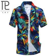 Мужская гавайская рубашка, мужская повседневная рубашка с принтом, пляжные рубашки с коротким рукавом, брендовая одежда,, Азиатский Размер 5XL