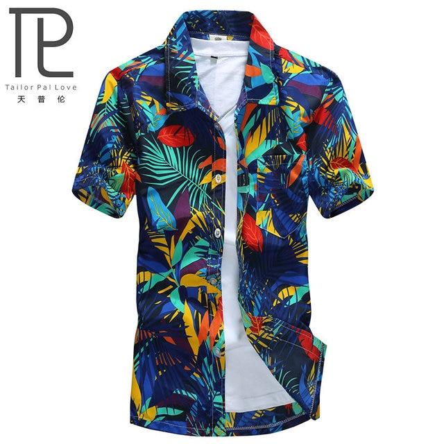 Мужские гавайская рубашка мужская повседневная camisa masculina Печатных Пляжные рубашки с коротким рукавом брендовая одежда Бесплатная доставка Азиатский размер 5XL