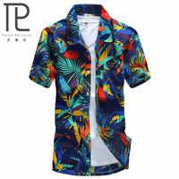 Camisa hawaiana para hombre, camisa Casual para hombre, camisa de playa con estampado masculina, ropa de marca de manga corta, talla envío gratis asiática, 5XL