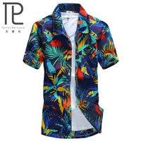 Herren Hawaiian Shirt Männlichen Casual camisa masculina Gedruckt Strand Shirts Kurzarm marke kleidung Freies Verschiffen Asiatische Größe 5XL