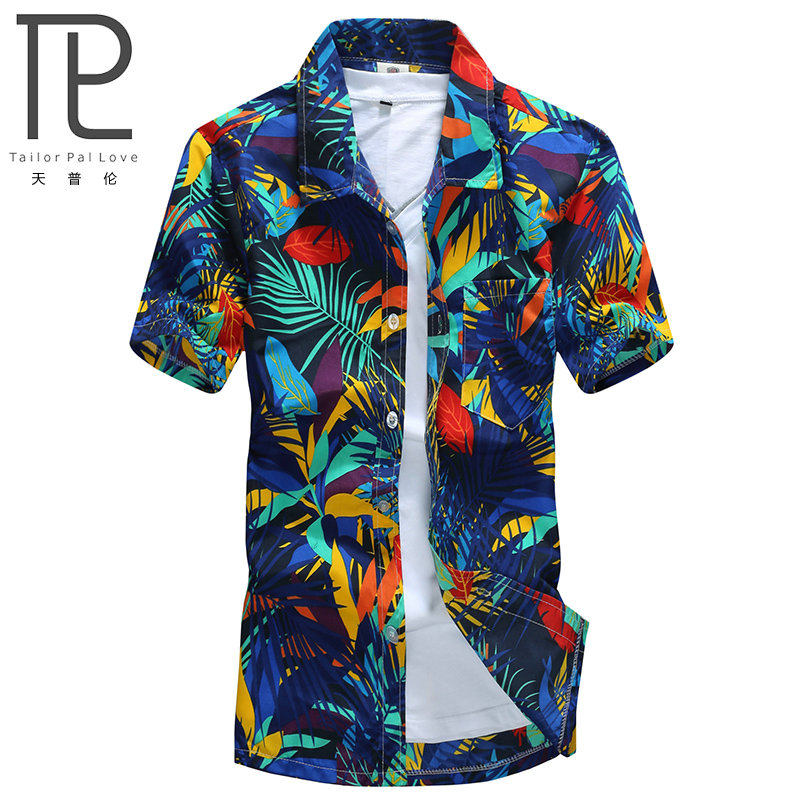 Mens Hawaiian Shirt Man Casual Camisa Masculina Printed Beach Shirts Kortärmad märke kläder Gratis frakt Asian Size 5XL