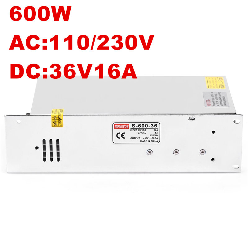 1PCS AC-DC 600W 36V power supply 36V LED Driver 36V 16.5A power supply 36V 600W S-600-36 high power supply 110/220VAC input1PCS AC-DC 600W 36V power supply 36V LED Driver 36V 16.5A power supply 36V 600W S-600-36 high power supply 110/220VAC input
