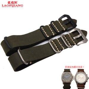 Image 4 - Calidad de Servicio Crazy Horse correa de reloj de cuero adaptador pegamento mar hecho a mano correa de reloj de cuero 22mm 24mm 26mm old NATO correa para hombres