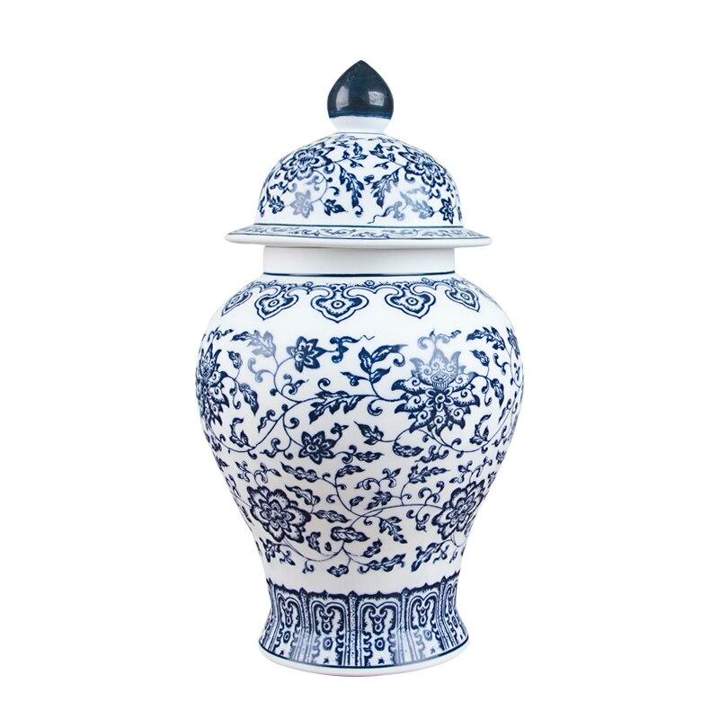 Jingdezhen 골동품 도자기 파란색과 흰색 일반 탱크 캔 차 항아리 저장 탱크-에서꽃병부터 홈 & 가든 의  그룹 1