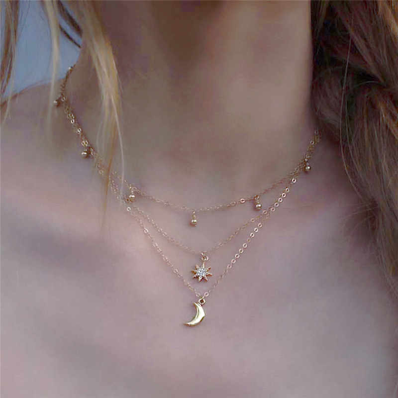 2018 New Fashion Trendy Multilayer Beads Star Moon Pendants Necklaces For Women Girl Long Necklace Jewelry Gifts Bijoux Femme R5