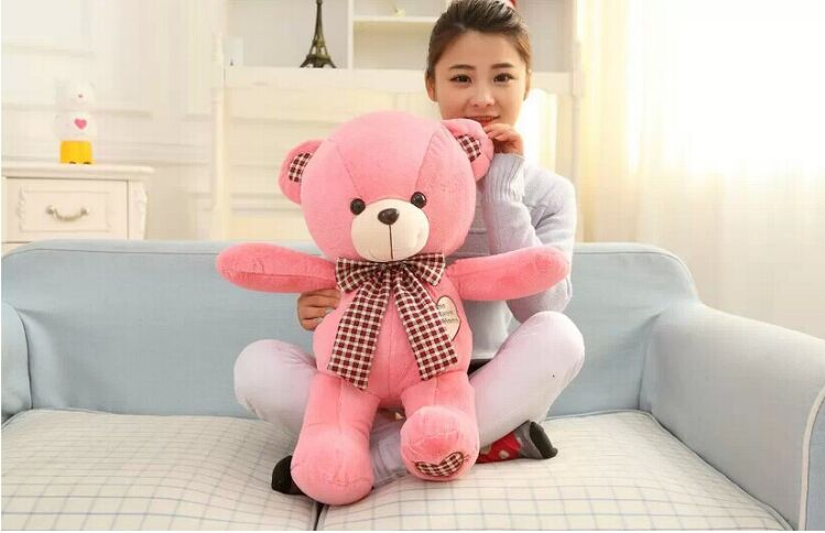 cute pink teddy bear toy plush bow teddy bear heart bear doll gift about 60cm new cute plush brown teddy bear toy pink heart and bow bear doll gift about 70cm