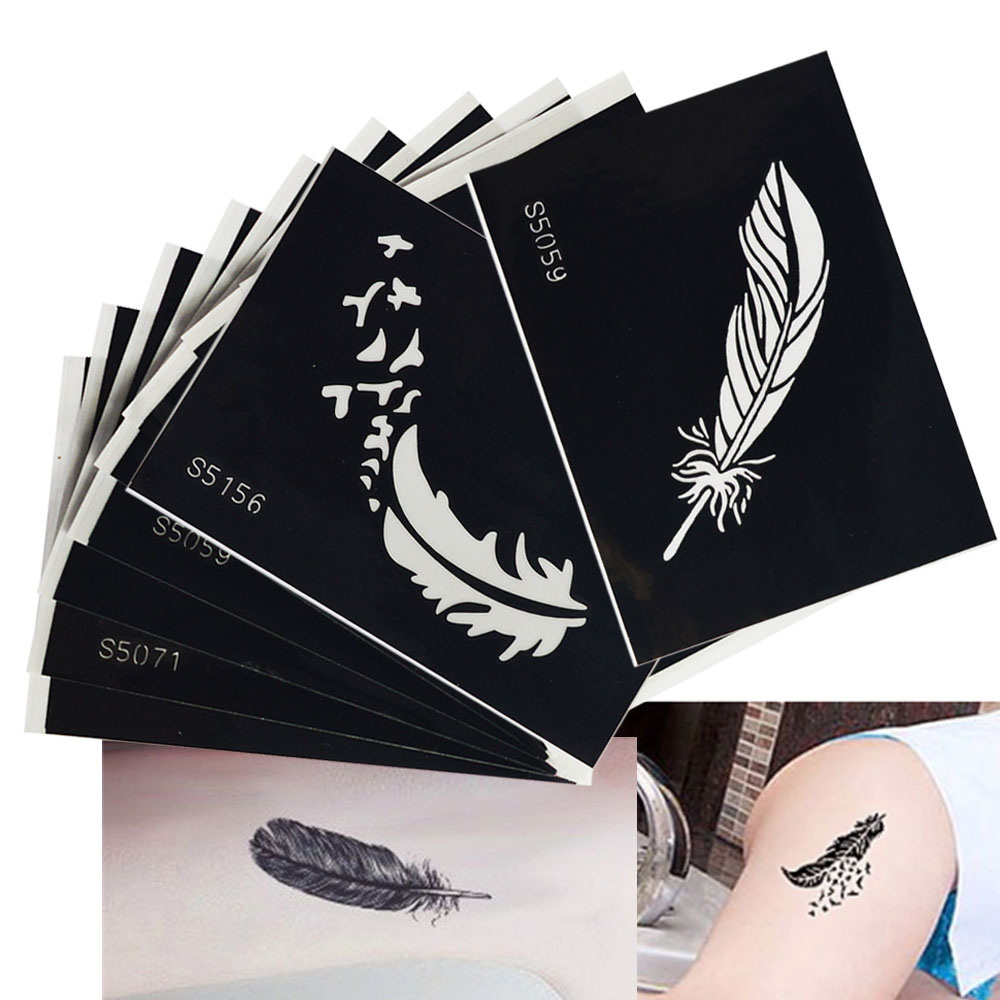 1 Sheet Fashion Tattoo Feather Decal Hollow Stencil Women Body Art Makeup Tool Temporary Tattoo Drawing Template Sticker La434