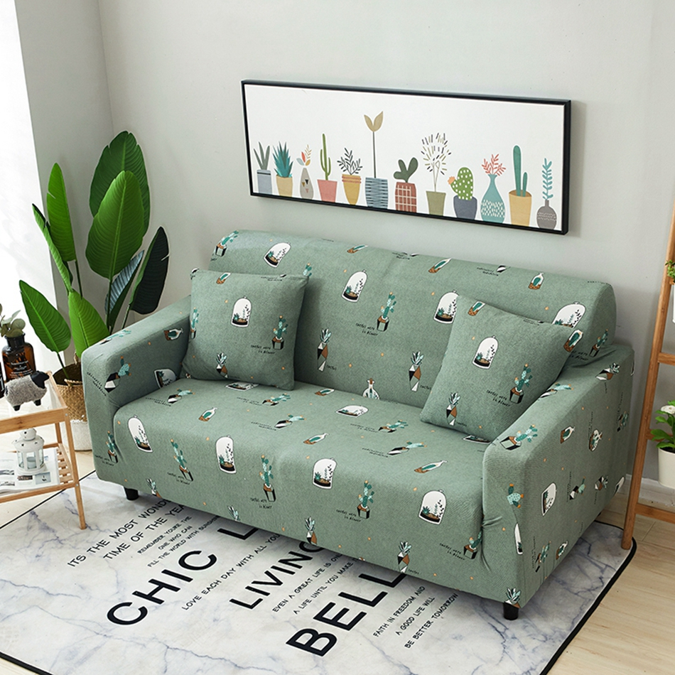 Home Decoration Green Plants Universal Stretch Sofa Covers