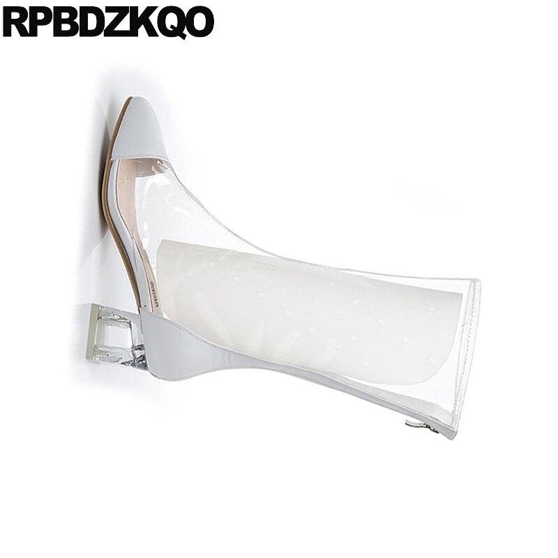 Marca Botas Alta Beige Transparente Lujo Rodilla Dedo Largo De Las Beige Grueso Pie Otoño Cuadrado Casual negro Claro Zapatos Tacón Impermeable Del Nuevo Mujeres xT7Bww