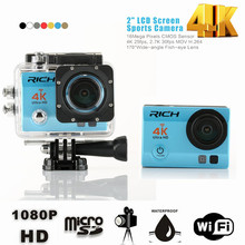 DHL 10pcs/lot Action Camera Remote Ultra 4K 24fps Wifi 16Mp Video Camera 170 Degree Lens Cam go waterproof pro Sport camera