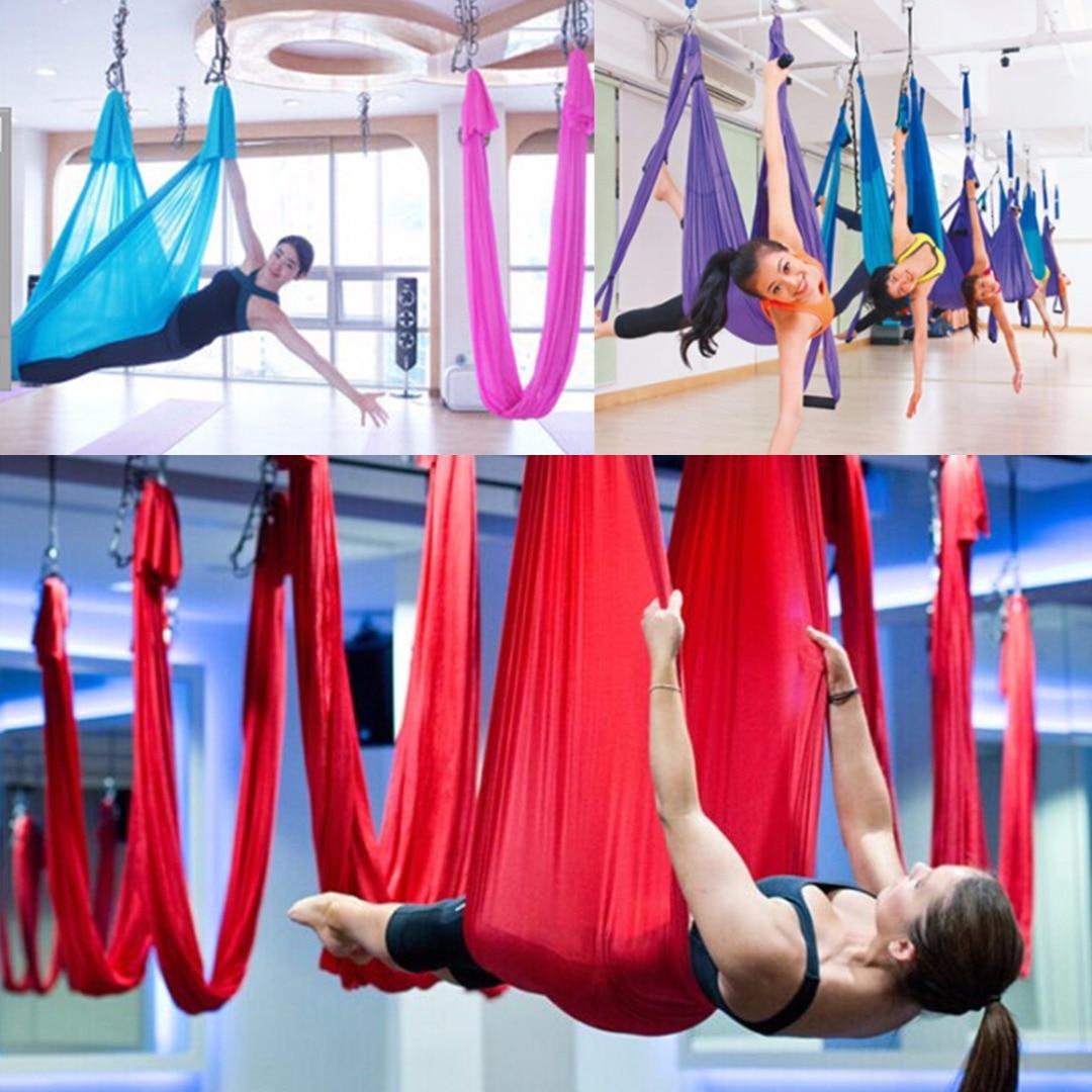 New Elastic Aerial Flying Anti-gravity Yoga Hammock Swing Belts For Yoga Training Body Building Fitness Equipment 2.8m *1m