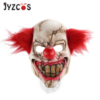 Clown Mask Senior Latex Comfortable Soft Fit Adult Child Man Woman Rotten Face Clown Party Halloween Birthday Red Hair Scary