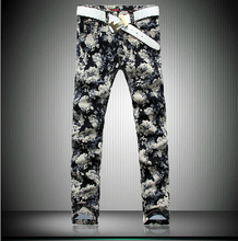 Free shipping ! NEW !! Men's brand personalized print Full flower jeans plus size fashion slim Tide fancy trousers / 28-40