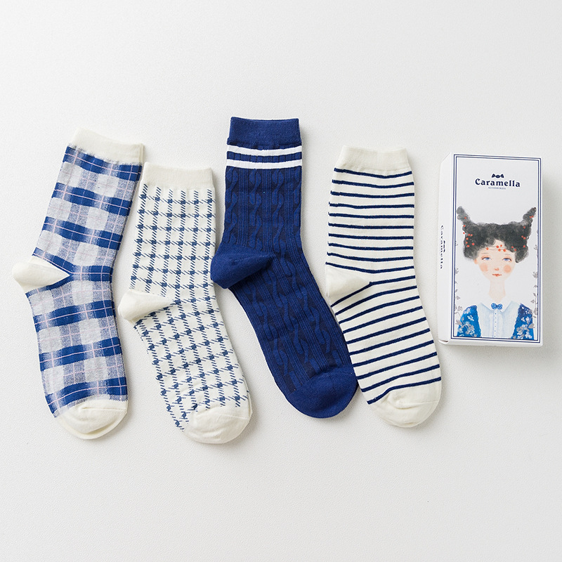 Gift box brand women cotton socks retro style socks autumn winter fashion stripes socks 4pairs/box