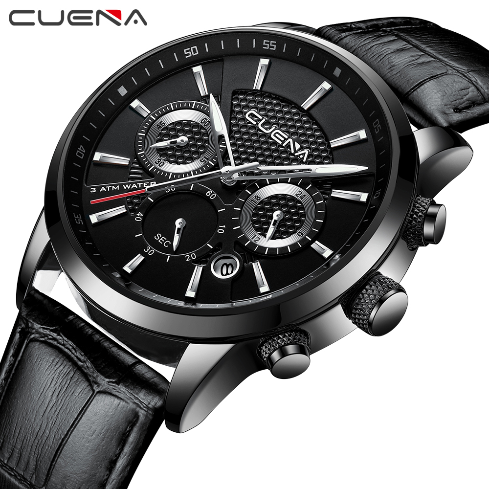 CUENA Quartz Watch Men Luxury Stopwatch Date Luminous Hands Genuine Leather Strap 30M Waterproof Black Fashion Men's Wrist Watch speatak sp9041g fashionable men s quartz watch w six stitch stopwatch black golden 1x lr626