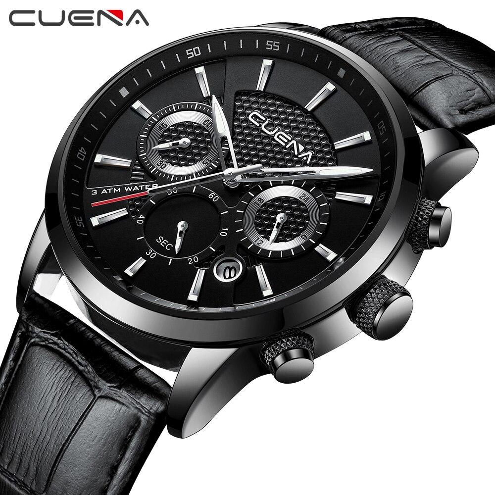 CUENA Quartz Watch Men Luxury Stopwatch Date Luminous Hands Genuine Leather Strap 30M Waterproof Black Fashion Men's Wrist Watch