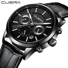 CUENA кварцевые часы для мужчин Роскошные секундомер Дата светящиеся стрелки пояса из натуральной кожи ремешок 30 м водонепроница…