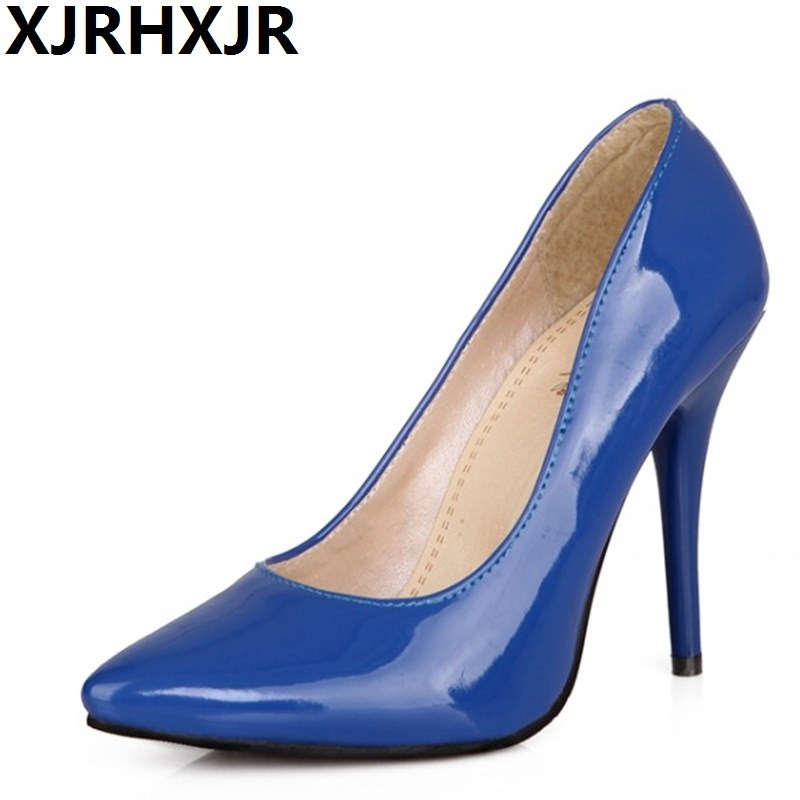 XJRHXJR Fashion Pointed Toe Shoes Woman Office Lady Work Shoes Sexy Thin Heels Women Candy Color Pumps Big Size 32-44 gzx101206 fashion woman thin high heels pu pump lady plus big size sexy pointed toe shoes woman wedding shoes t strap 10cm 12cm
