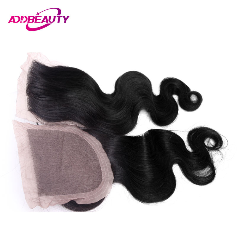 Silk Base Closure Frontal Body Wave Virgin Brazilian Free / Middle Part 4x4 Human Baby Hair 1 PCS Natural Color 10 To 20 Inch