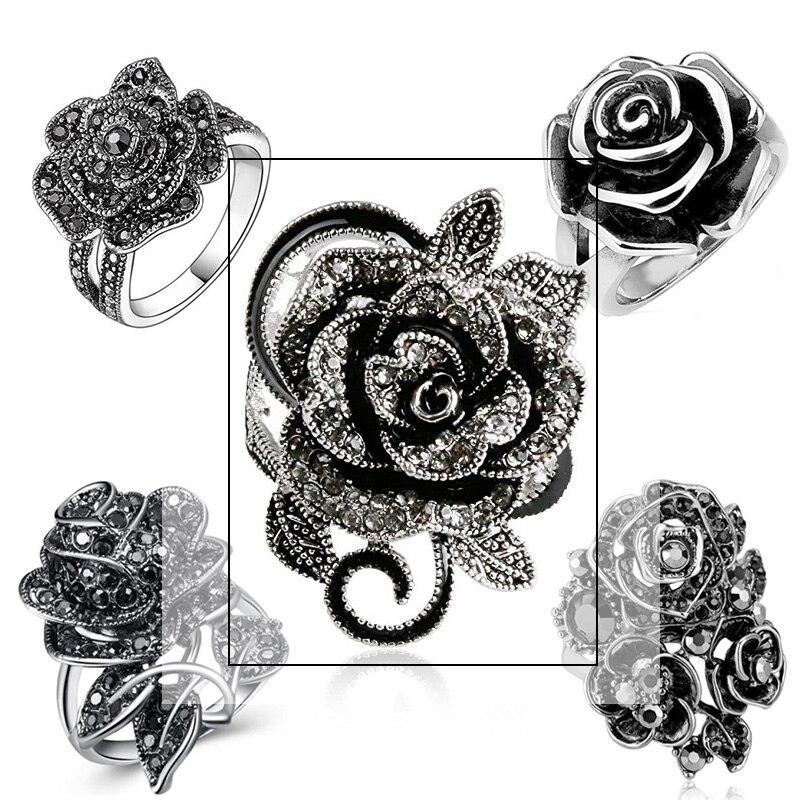 Huitan שחור עלה טבעת עם CZ מיקרו פייב חג המולד לשנה חדשה מסיבת תכשיטי בציר פרח טבעות לנשים סיטונאי המון בתפזורת