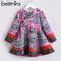 2018 Beenira Brand Children Winter Printed Dresses European And American Style Kids Clothing Dress Design For 4 14 Years Dresses